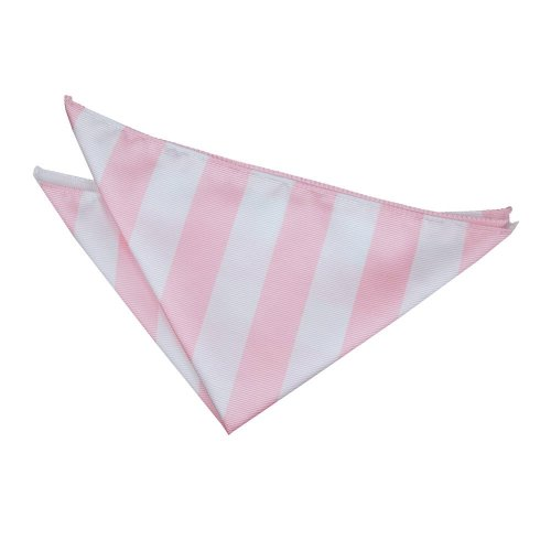 Baby Pink & White Striped Pocket Square