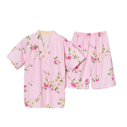 Pink Sweet Cotton Pajamas Suit Pullover Kimono Style Loose Home Wear Pajamas