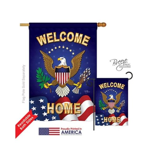 Breeze Decor 08064 Military Welcome Home 2-Sided Vertical Impression House Flag - 28 x 40 in.