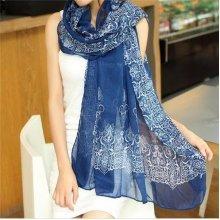Women Ladies Vintage Chinese Style Porcelain Printing Long Scarf Shawl Wrap Scarves