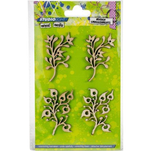 Studio Light Mixed Media Wooden Laser Ornaments-Small Sprigs