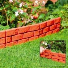 4 X Terracotta Instant Brick Effect Hammer in Garden Lawn Edging Plant Border