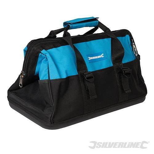 Silverline Tool Bag Hard Base Wide Mouth 400 x 200 x 300mm - 268974 406 230 -  tool x bag hard wide base mouth silverline 268974 406 230 200mm