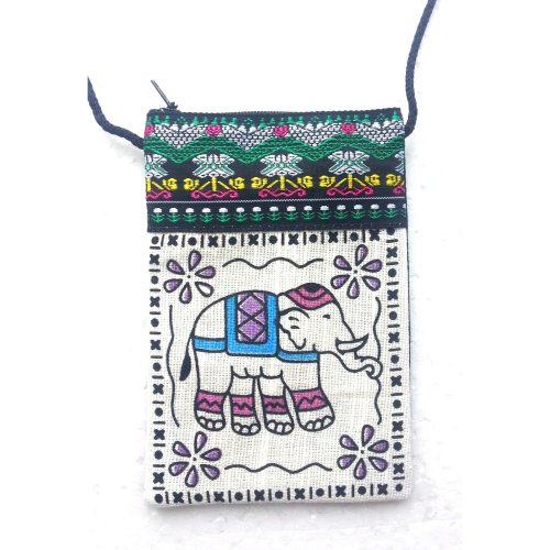 Elephant Motif Cotton Phone Pouch | Necklace Mobile Phone Holder