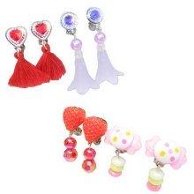 Set of 4 Clip-on Earrings for Kids Clip-on Earrings for Girls [Multicolor-7]