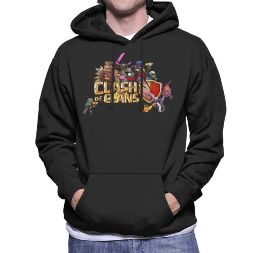 (X-Large, Black) Clash Of Clans Characters Logo Men's Hooded Sweatshirt