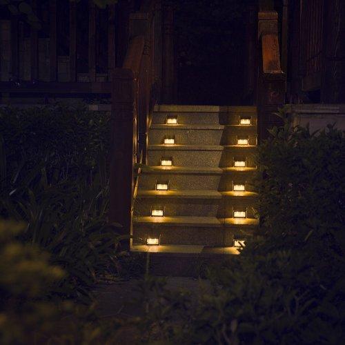 [Warm Light] XLUX S60 Solar Step Light, Stair Deck Lamp, Waterproof, 6 Pack