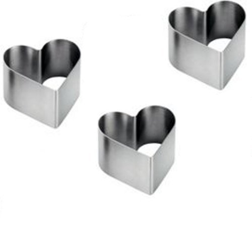 Kabalo Pro Stainless Steel 3-Piece Food Heart Press Set - Cooking Presentation Rosti