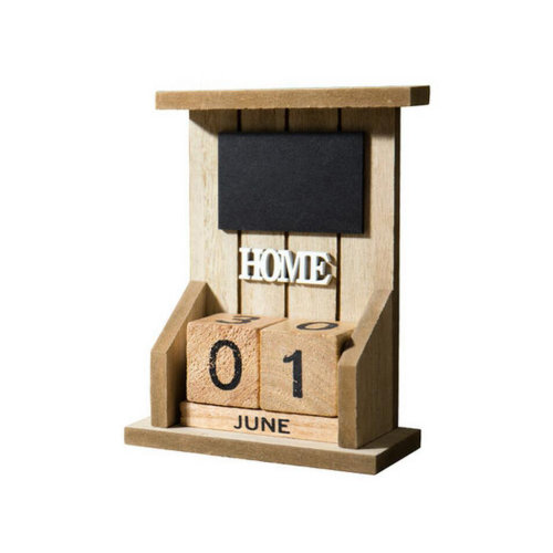Wooden Permanent Calendar Creative Calendar Decoration For Home / Office -A6