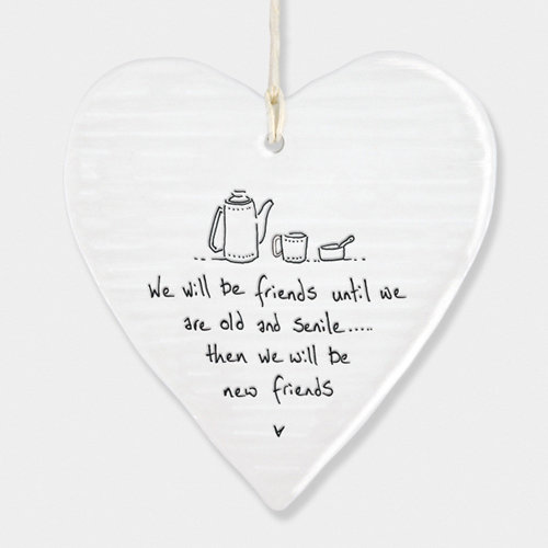 East of India Porcelain Ceramic Wobbly Heart 'We Will Be friends…..'  - Gift