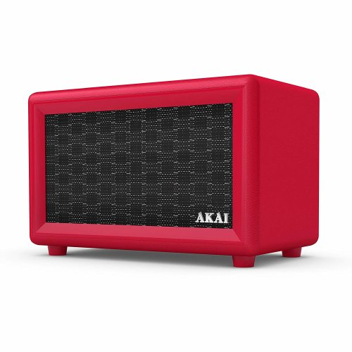 Akai Retro Design Bluetooth Speaker with Built-In Rechargeable Battery, 2 x 12.5 W Speakers, 3.5 mm AUX Input, LED Indicator Light, Red