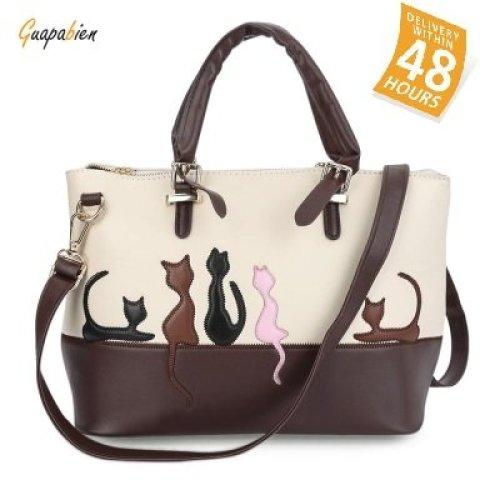 Guapabien Women Cartoon Animal Cat Patchwork Rivet Handbag