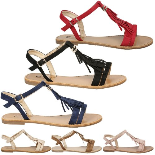 Luisa Womens Flat Fringe Tassel Open Toe Sandals