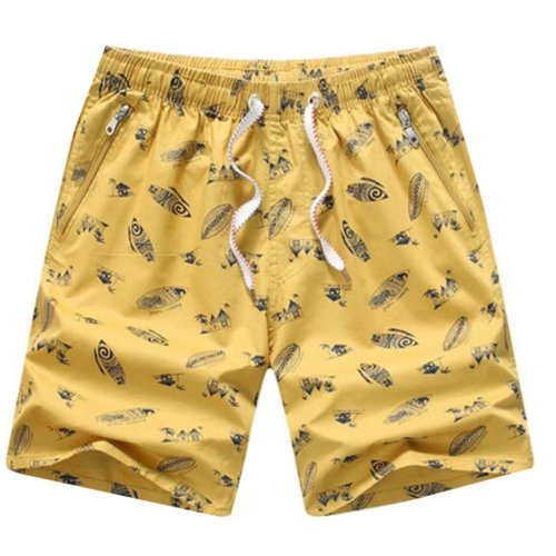 Quick-drying Pants Men Casual Boardshorts Holiday Loose Beach Shorts Yellow