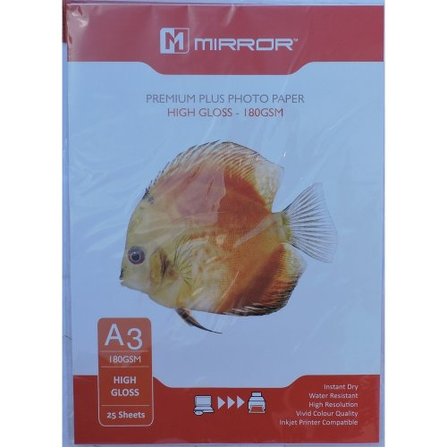 A3 180gsm Mirror High Gloss Inkjet Paper