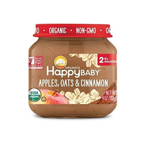 Happy Baby 318853 Stage 2 Apple Oat Cinnamon Clearly Crafted Baby Food in Jar, 4 oz - Pack of 12