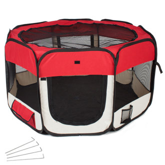 Dog pen pop-up made of polyester red