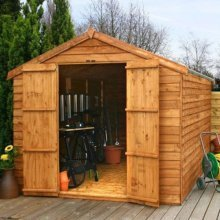 12x8 - Overlap Apex Shed - Double Door  - No Windows