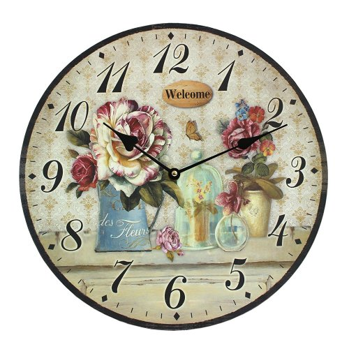 Obique Home Decoration Flowers and Welcome Scene 34cm MDF Wall Clock