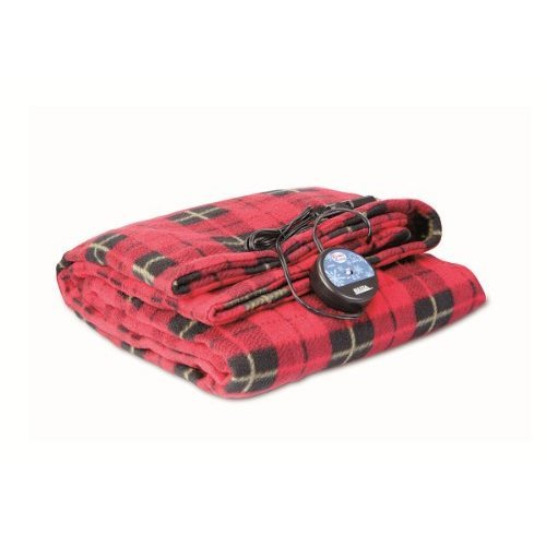 Maxsa 12V Heated Travel Blanket Red Plaid Use In Vehicle For Road Trips Or For Tailgating With Car Adapter And Built In Timer 20014