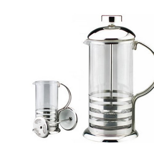 Kabalo 800ml / 8-cup Large Stainless Steel Glass Cafetiere French Filter Modern Coffee and Tea Press Plunger