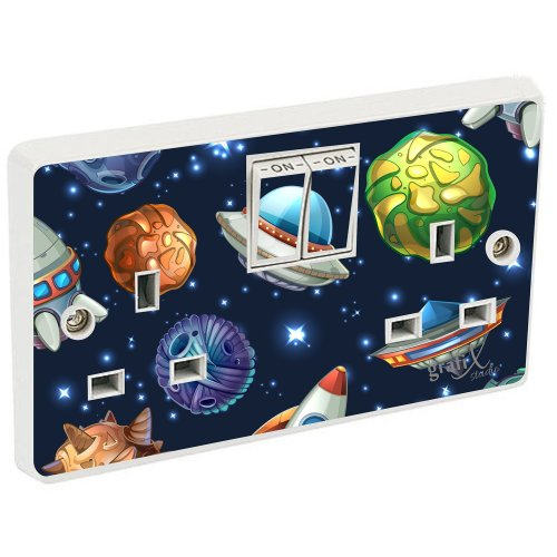 Space & Planets Light Switch Double Switch Plug Sockets Sticker Vinyl / Skin cover dp4