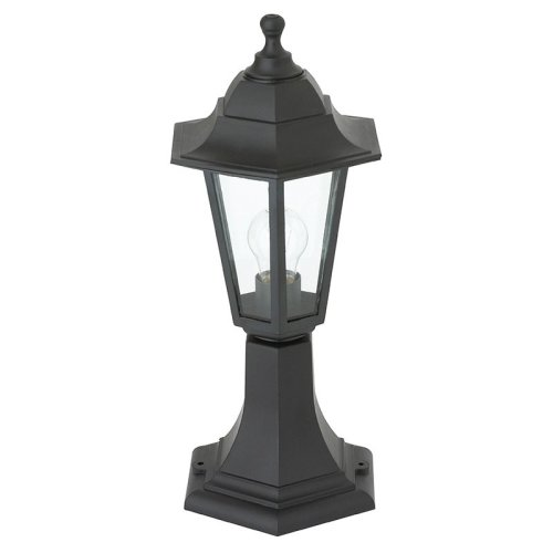 IP44 60W Outdoor Pedestal Lantern In Black
