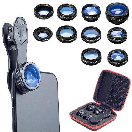 10 in 1 Universal Phone Camera lens kit Clip-on Phone Wide Angle lens + Macro lens + Fisheye lens + Telephoto lens + Kaleidoscope 3/6 lens +...