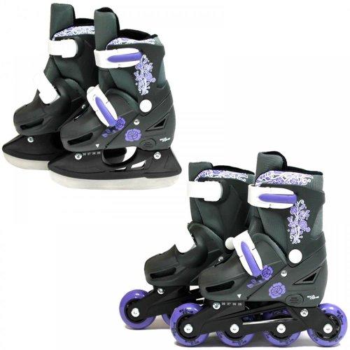 SK8 Zone Girls Purple 2in1 Adjustable Roller Blades Inline Skates Ice Skating[Small 9-12 (27-30 EU)]