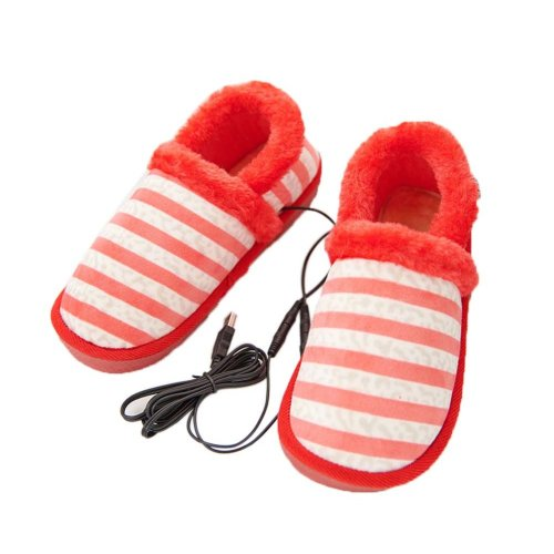 [Red Stripe] Heating Shoes Warm USB Electric Heated Slipper usb Foot Warmer for Winter 24cm