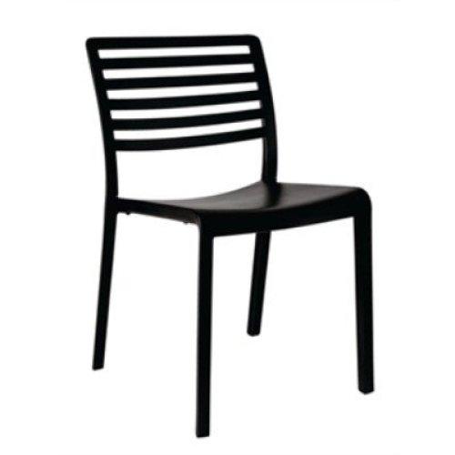 Monroe Slotted Back Black Armchair / Pack of 4