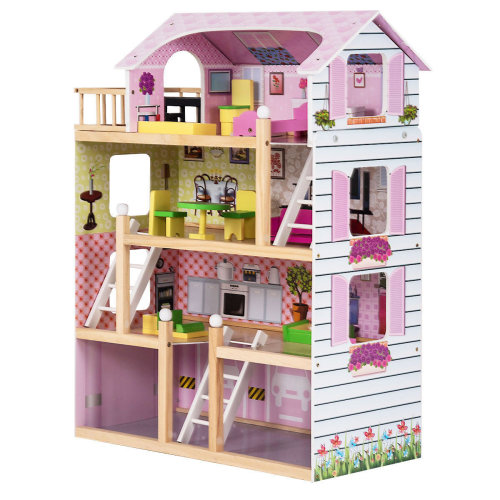 Wooden Kids 3 Storey Doll House With Furniture