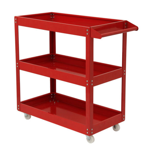 New Red Tool Trolley 3 Shelf Workshop Utility tray Garage Equipment Wheel Cart