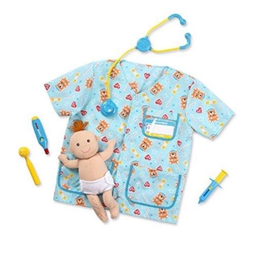Melissa Doug Pediatric Nurse Role Play Costume Set 8 Pcs Includes Baby Doll Stethoscope