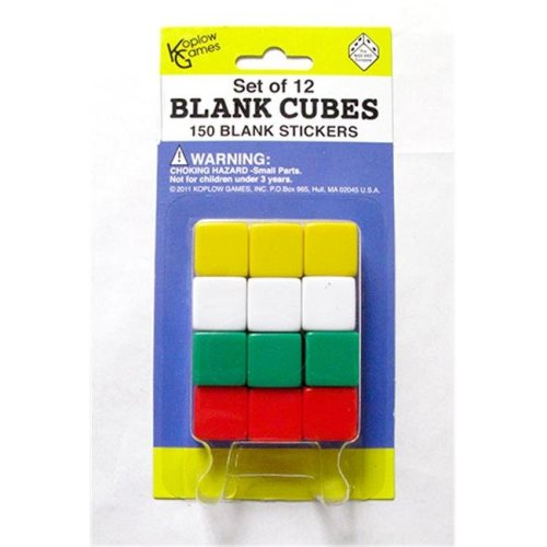 Koplow Games Inc. KOP17586 Blank Dice With Stickers Set Of 12 Dice With 150 Stickers