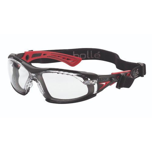 Bolle RUSH+ Safety Glasses Red/Black Temples + Foam & Strap Clear Lens