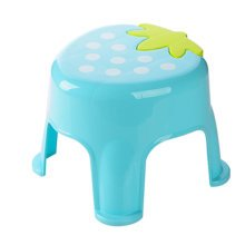 Cute Cartoon Creative Anti-skidding Plastic Stool Footstool for Children, Strawberry, Blue (Large)