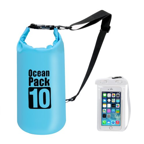Premium Waterproof Dry Bag with Shoulder Strap - 10L Floating Ocean Pack, Lightweight Stuff Sack with Cell Phone Bag Outdoor Gear for Traveling...