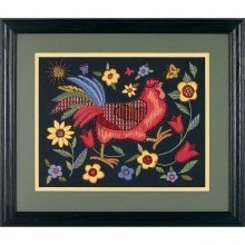 D01543 - Dimensions Crewel Embroidery - Rooster on Black