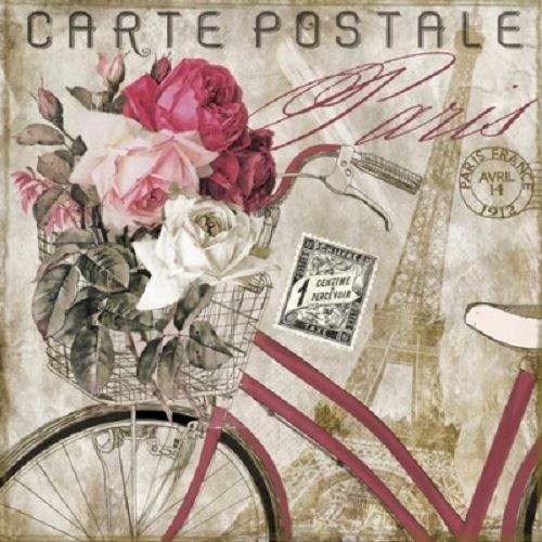 Ti-Flair Pack of 20 Napkins / Serviettes - Carte Postale Paris - 33cm x 33cm - 3ply