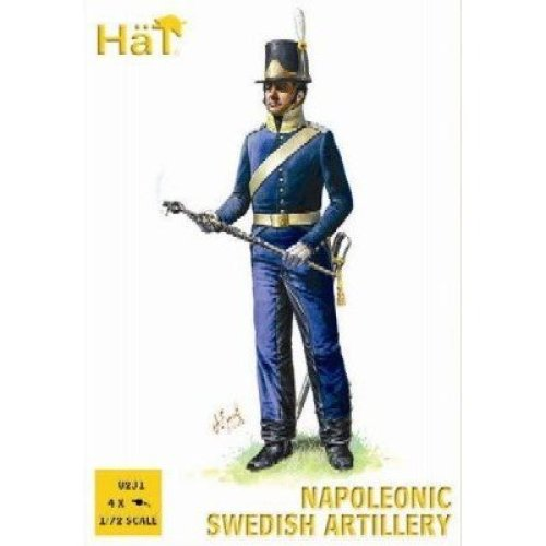 Napoleonic Swedish Artillery (16 Figures & 4 Cannons) 1/72 Hat