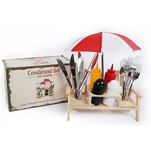 Outdoor Umbrella Picnic Bench Condiment Holder Cutlery Set