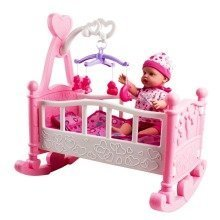 deAO Rocking Pink And White Cradle With Mobile Includes Doll and Accessories