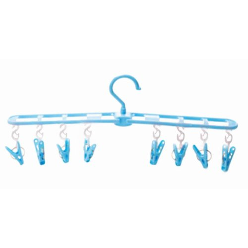 Wind Resistant Portable Hanger 8 Clips Foldable Clothing Rack-Blue