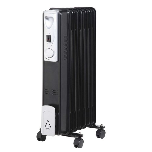 Kingavon 7 Fin Slimline Black Oil Filled Radiator - 1.5Kw Electric Heater Adjustable Thermostat