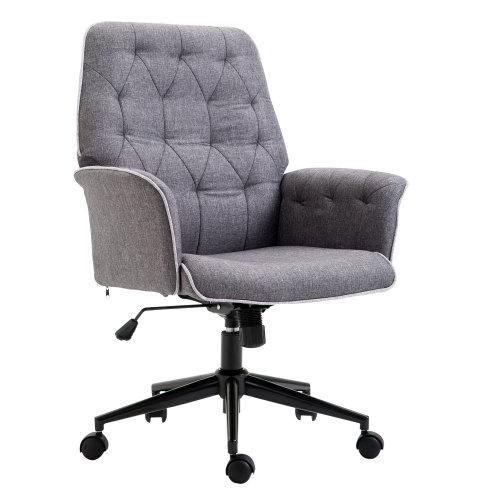 HOMCOM Office Chair Mid Linen Back-Grey