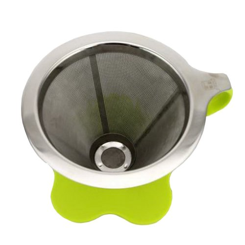 Durable Stainless Steel Mesh Coffee Filter Easy Holder Filter Green 4.3'