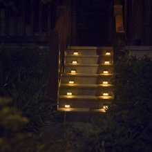 [Warm Light] XLUX S60 Solar Step Light, Stair Deck Lamp, Waterproof, 6 Pack