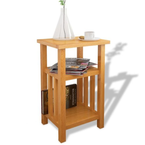 vidaXL End Table with Magazine Shelf Solid Oak 27x35x55 cm