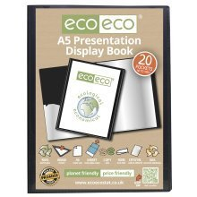 1 x A5 Recycled 20 Pocket / 40 Views Presentation Display Book - Black